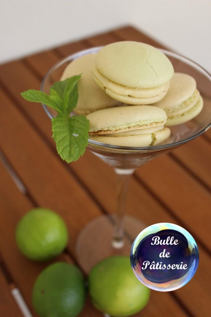 Macarons saveur mojito : citron vert - menthe - rhum blanc