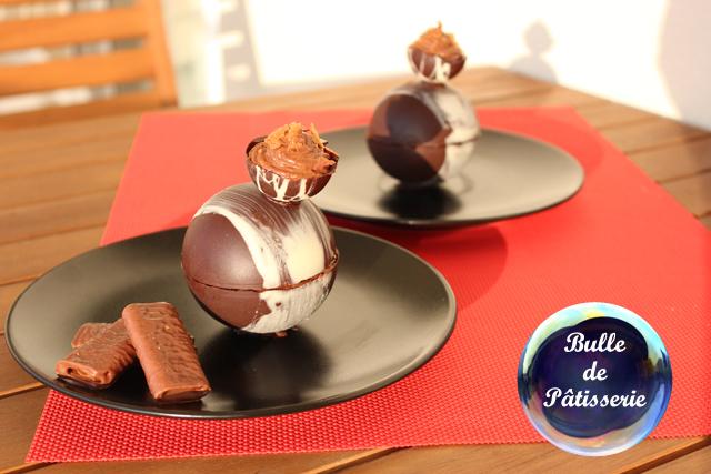 Sphères chocolat-framboises