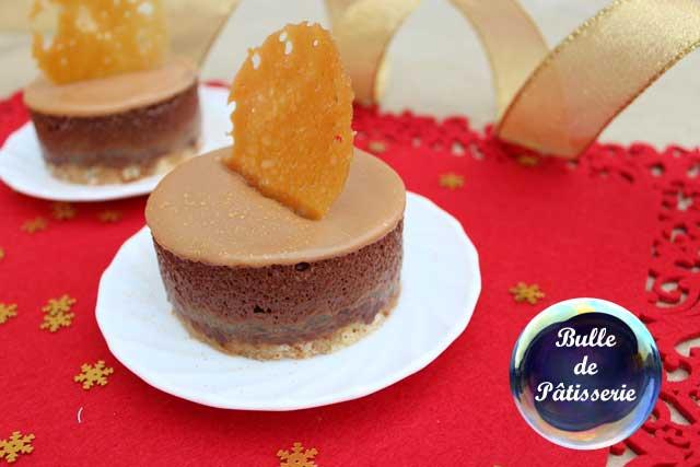 Pâtisserie : entremet poires-chocolat-caramel