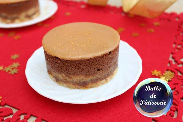 Dessert : entremet poires-chocolat-caramel