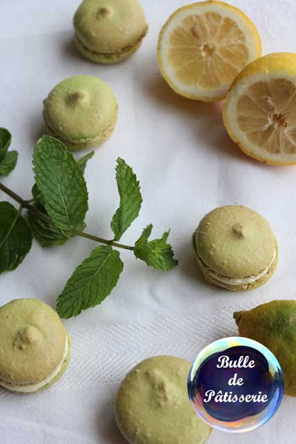 Pâtisserie : macarons mojito citron-menthe-rhum