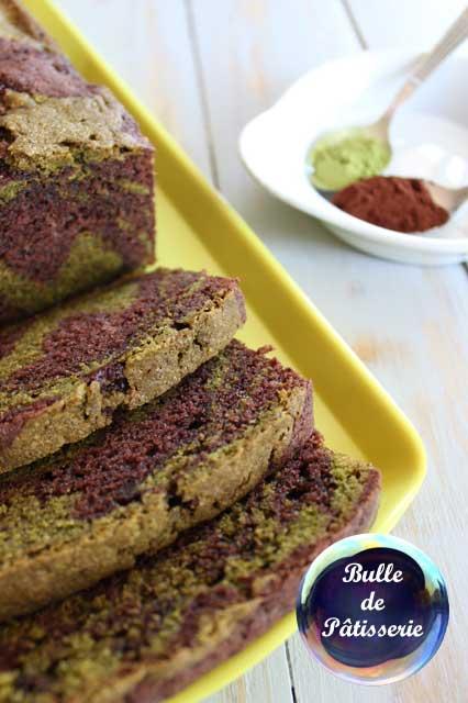 Dessert : cake marbré au thé vert matcha et chocolat noir