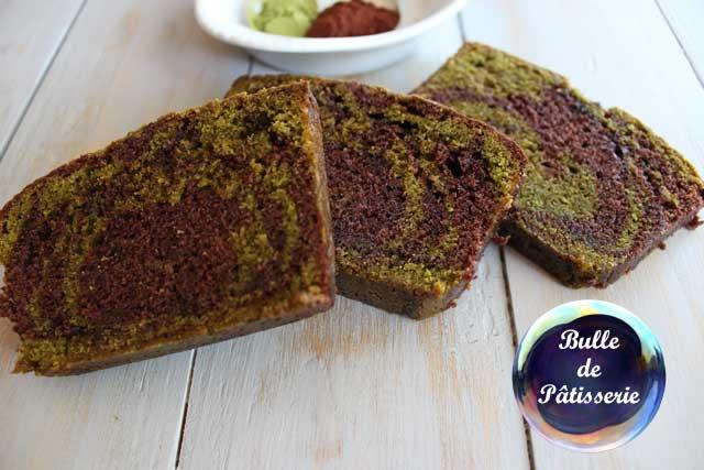 Recette : cake marbré chocolat-thé vert matcha