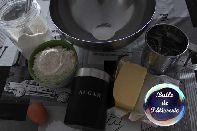 Ingrédients pour la réalisation de la pâte sablée maison