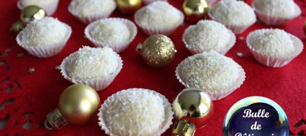 Recette de Noël : truffes chocolat blanc, citron et noix de coco