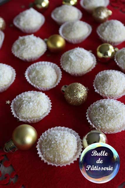 Chocolats de Noël : truffes chocolat blanc, citron et noix de coco