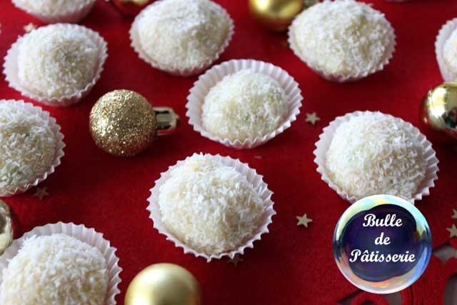 Pâtisserie : truffes chocolat blanc, citron et noix de coco
