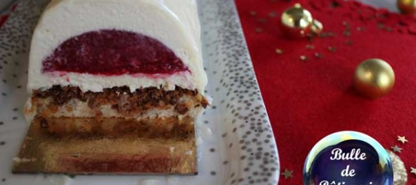 Dessert de Noël : bûche framboises-chocolat blanc