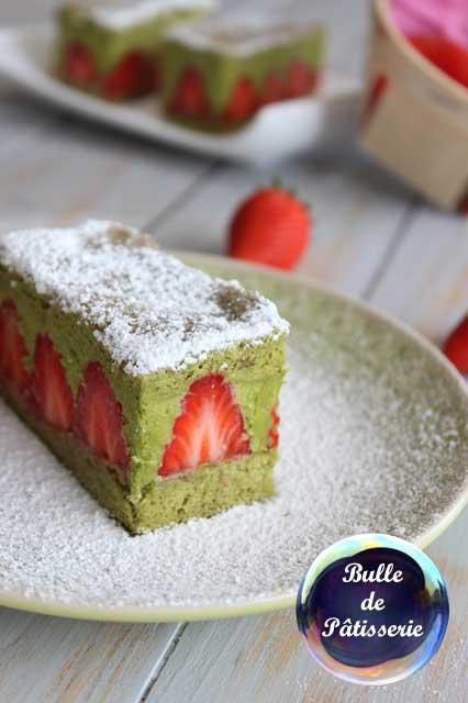 Recette : fraisier au thé matcha
