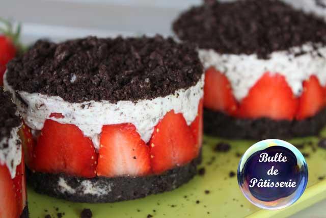 Pâtisserie gourmande : cheesecake fraises et oréos sans cuisson