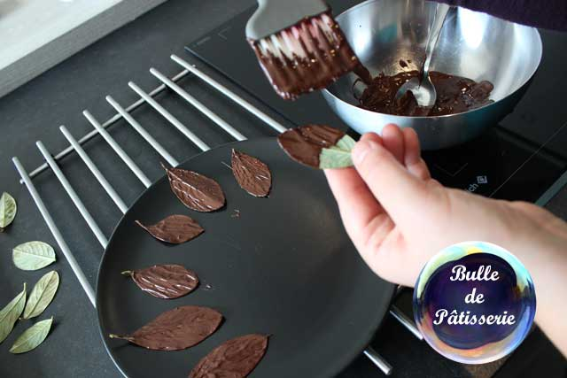 Réalisation des feuilles en chocolat