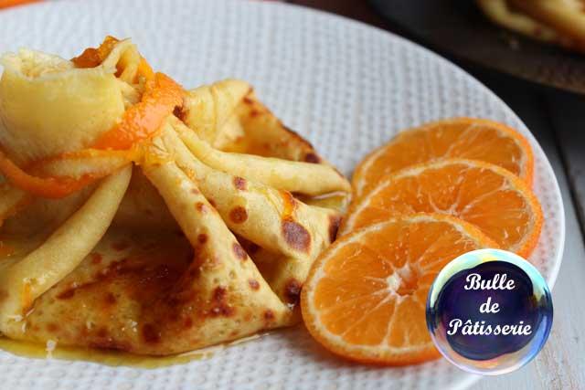 Dessert à l'orange : aumônières de Crêpes façon Suzette