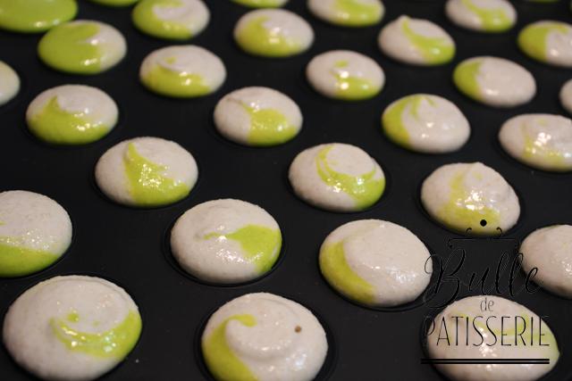 Coques de macarons bicolores : après pochage