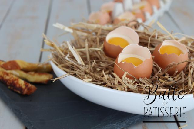 Dessert de Pâques : Oeuf Coque et ses mouillettes en trompe l'oeil