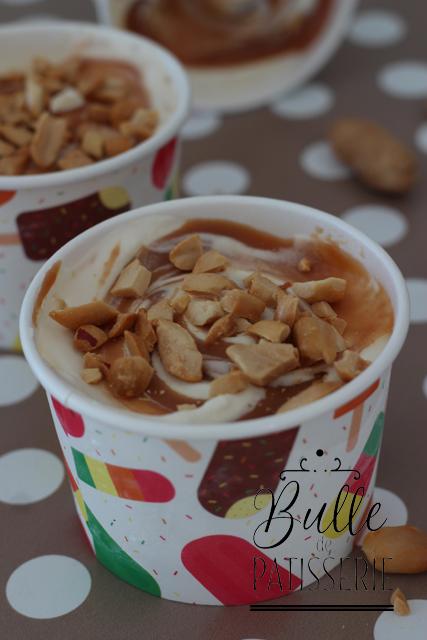 Glace sans sorbetière : Sundae Caramel au beurre salé-Cacahuètes
