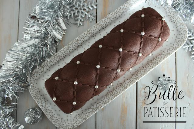 Bûche Chocolat-Noisettes et coeur coulant praliné