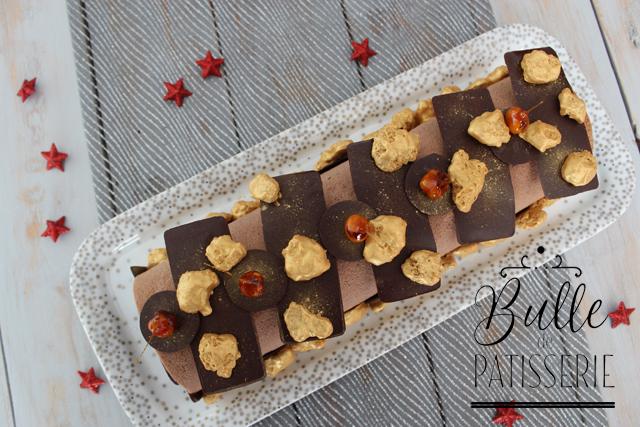 Bûche de Noël Maison : chocolat noir - praliné