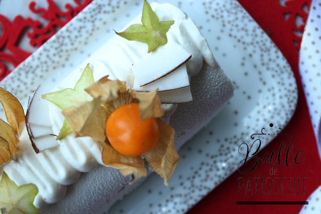 Bûche glacée exotique : Coco-Mangue-Passion