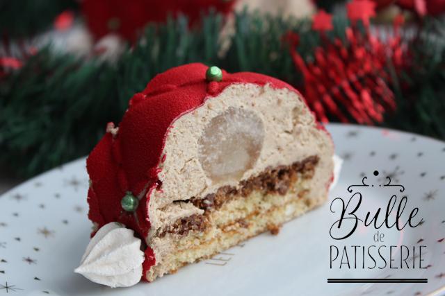 Bûche de Noël : compotée de poires, mousse spéculos, croustillant et pain de Gênes