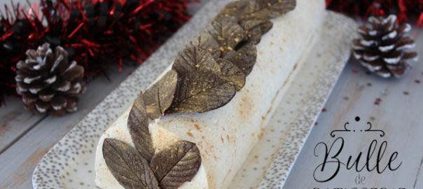 Pâtisserie de Fêtes : Bûche de Noël Vanille-Caramel-Spéculoos