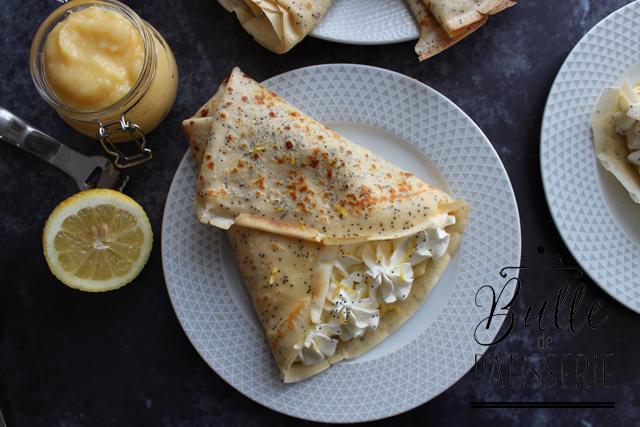 Pâte à crêpes citron-pavot, lemon curd et chantilly mascarpone-citron