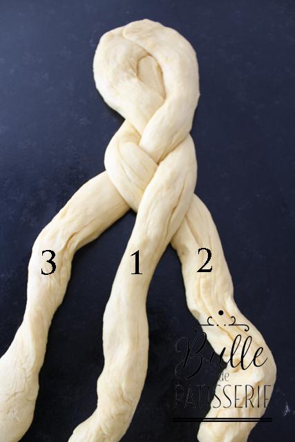 Tresser la brioche - Etape 5 : Puis le côté droit : Faites passer le boudin 1 par-dessus le boudin 2. Le boudin 1 se positionne alors au centre