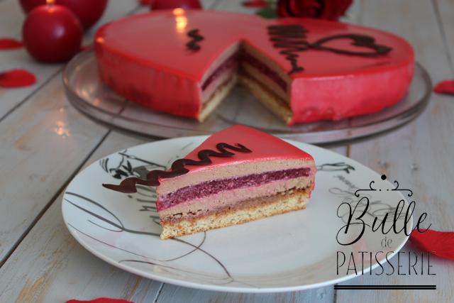 Dessert maison pour la St Valentin : entremets framboises-chocolat au lait