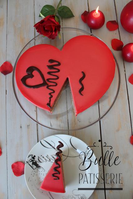 Pâtisserie maison : entremets de la Saint Valentin Framboises & Chocolat au lait