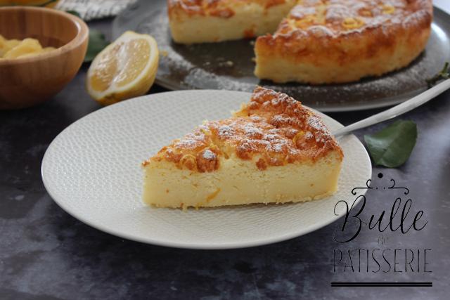 Gâteau magique au lemon curd : génoise+crème+flan