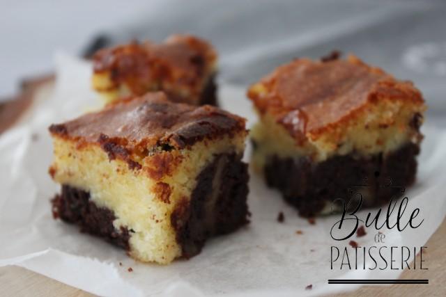 Dessert maison : brownie chocolat blanc et noir