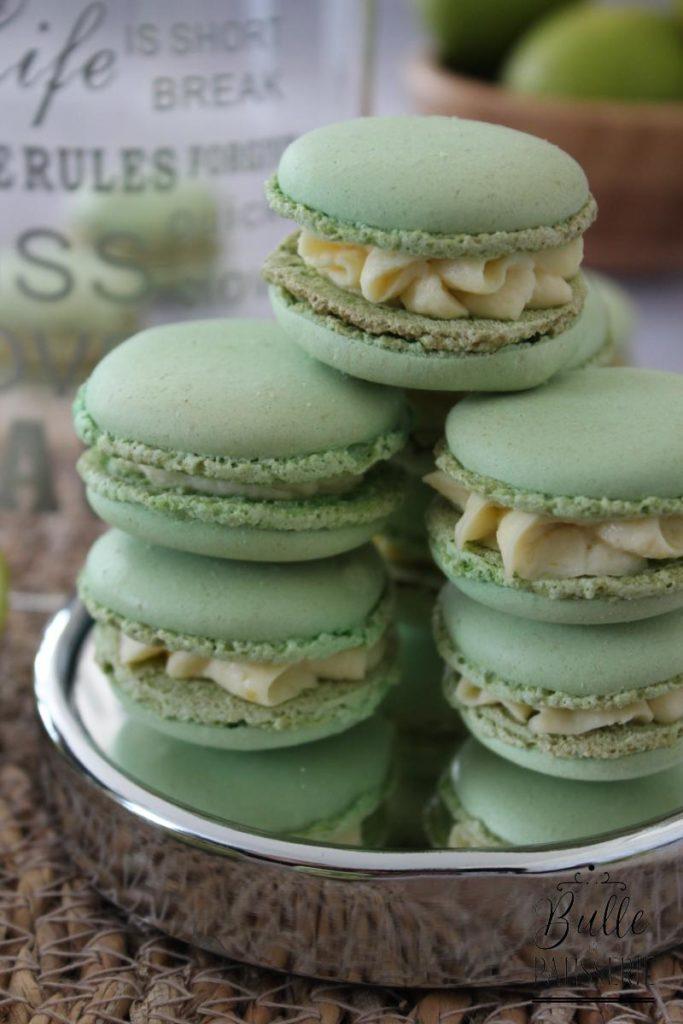 Macarons fourrés ganache citron vert et gingembre