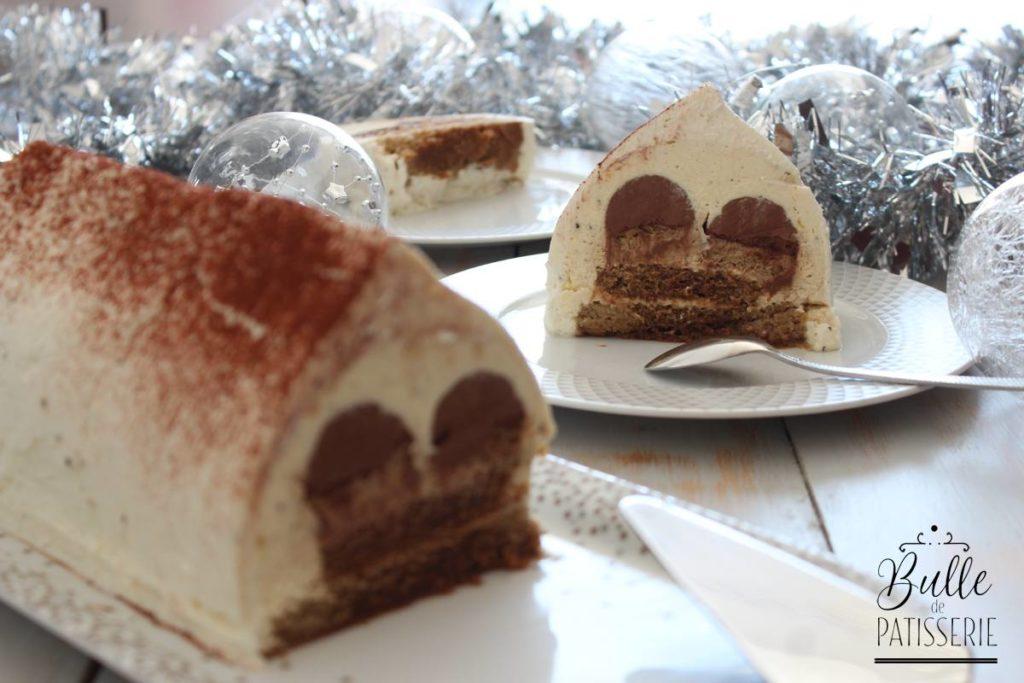 Tiramisu de Noël : biscuit cuillère café, crémeux chocolat noir, crémeux café, crème tiramisu, crème chantilly