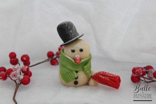 Bonhomme de neige en pâte d'amande