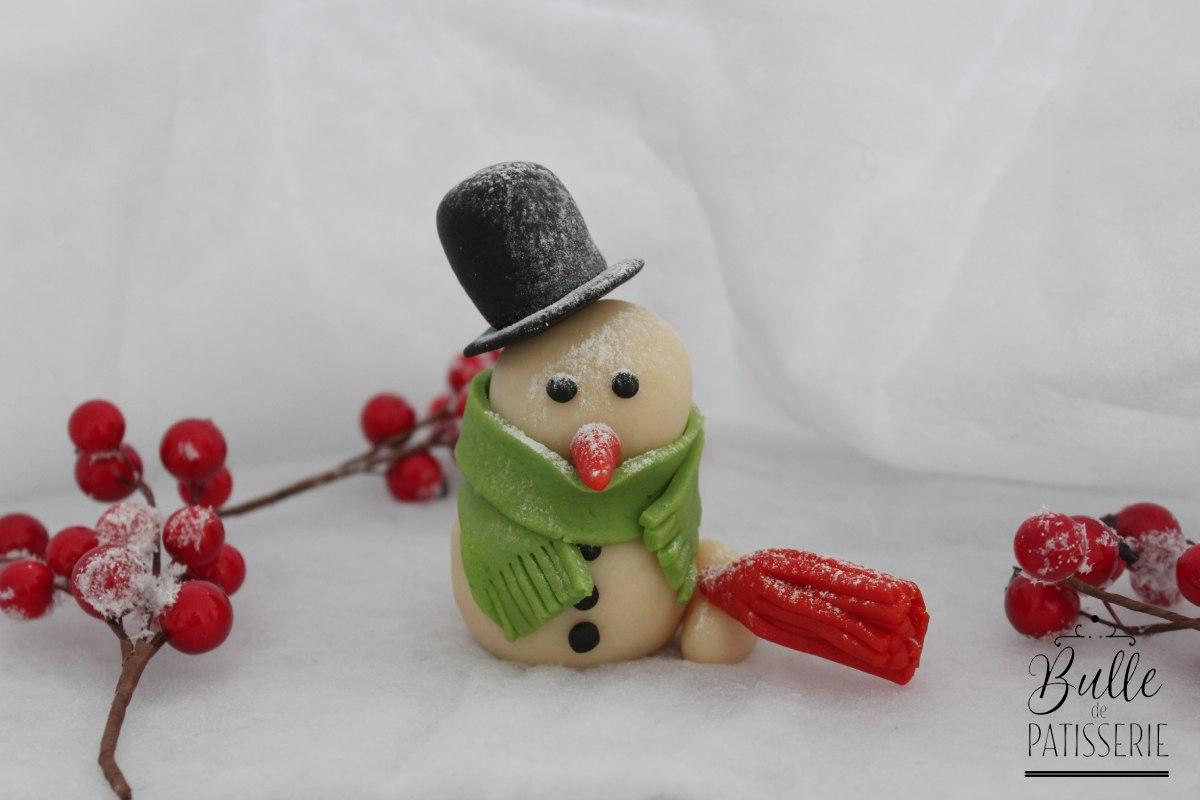 Bonhomme de neige à réaliser en pâte d'amande ou pâte à sucre