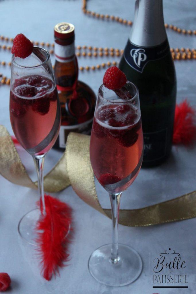 Cocktail de Noël et Saint Valentin au Champagne et aux framboises
