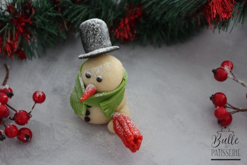 Décoration de bûche de Noël : bonhomme de neige