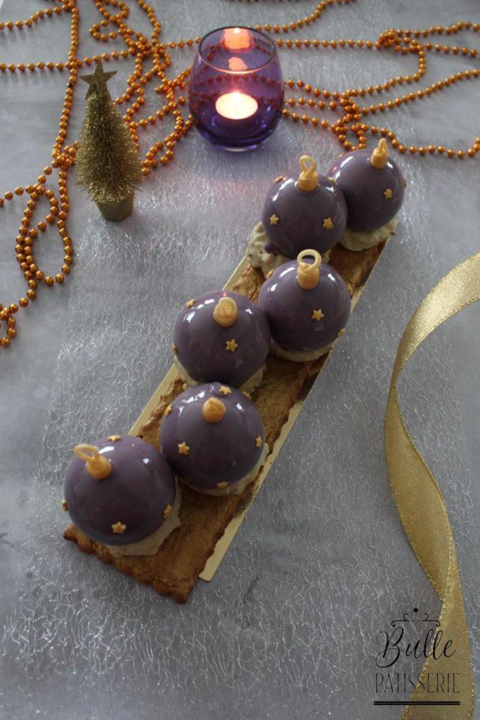 Entremets de Noël : Boules Myrtille-Crème de marron