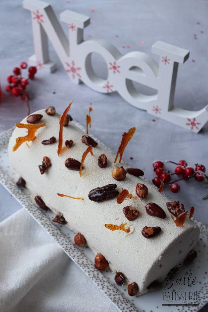 Bûche de Noël glacée maison : Vanille, Caramel et Café