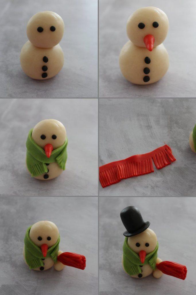 Tuto Pas à Pas : bonhomme de neige en pâte d'amande