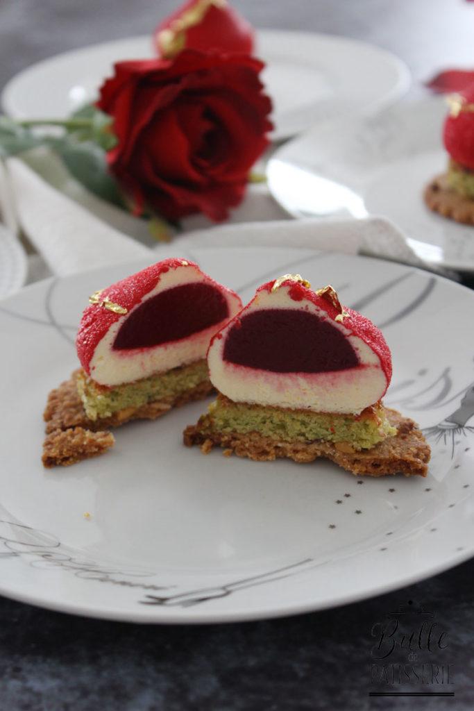 Recette St Valentin : entremets Rose, Framboise et Pistache