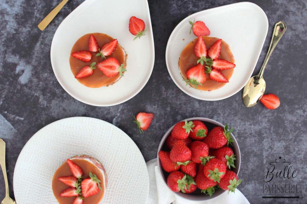 Recette facile : cheesecake sans cuisson Fraise-Caramel