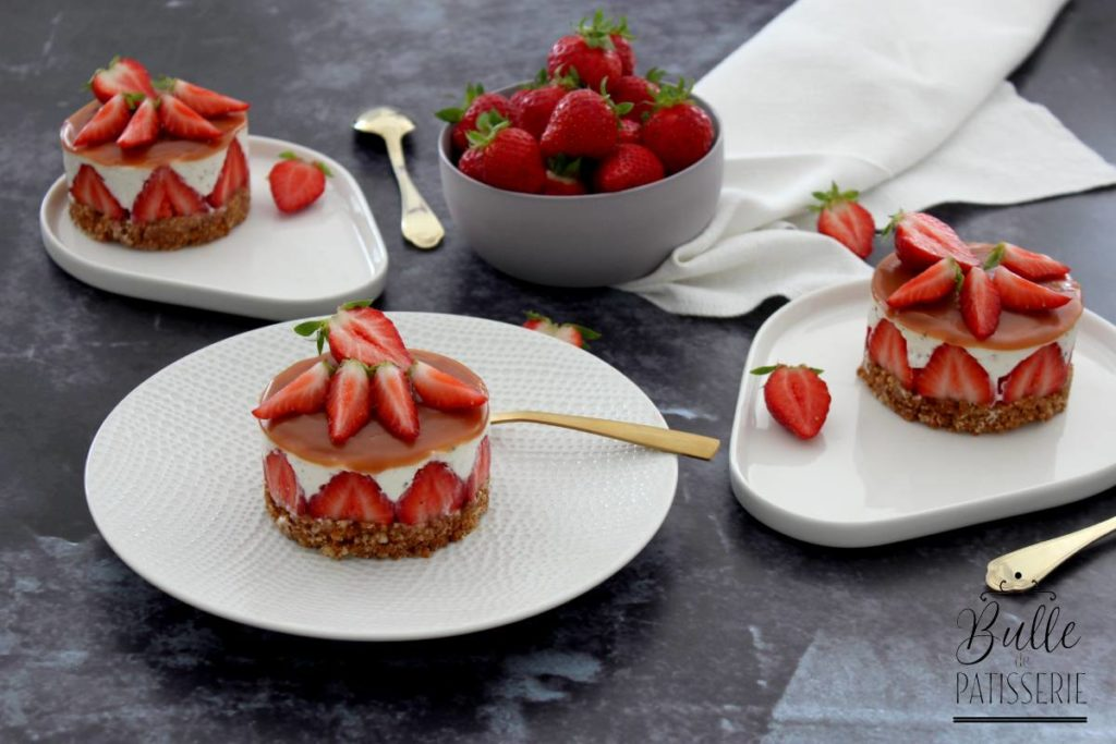 Recette printannière : cheesecake fraise-caramel