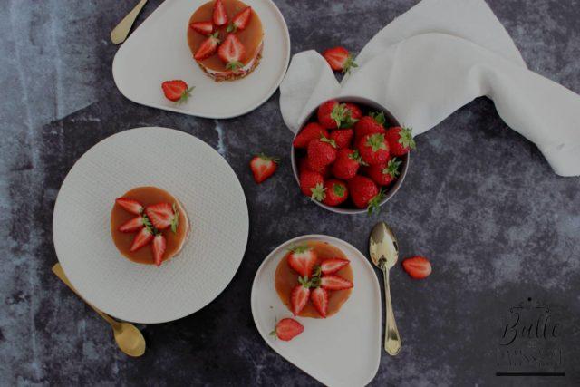 Cheesecake Fraise-Caramel (sans cuisson)
