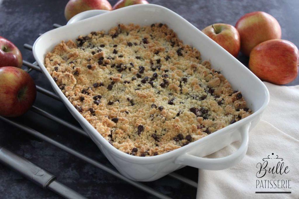 Recette du crumble pomme-fruit rouge-chocolat