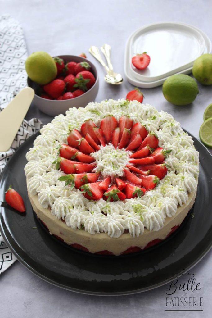 Classique de la pâtisserie : le fraisier, touche de citron vert