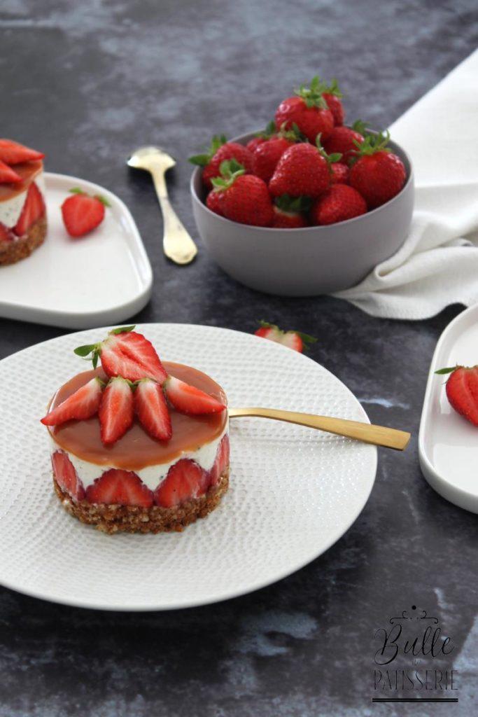 Cheesecake sans cuisson Fraise-Caramel au beurre salé