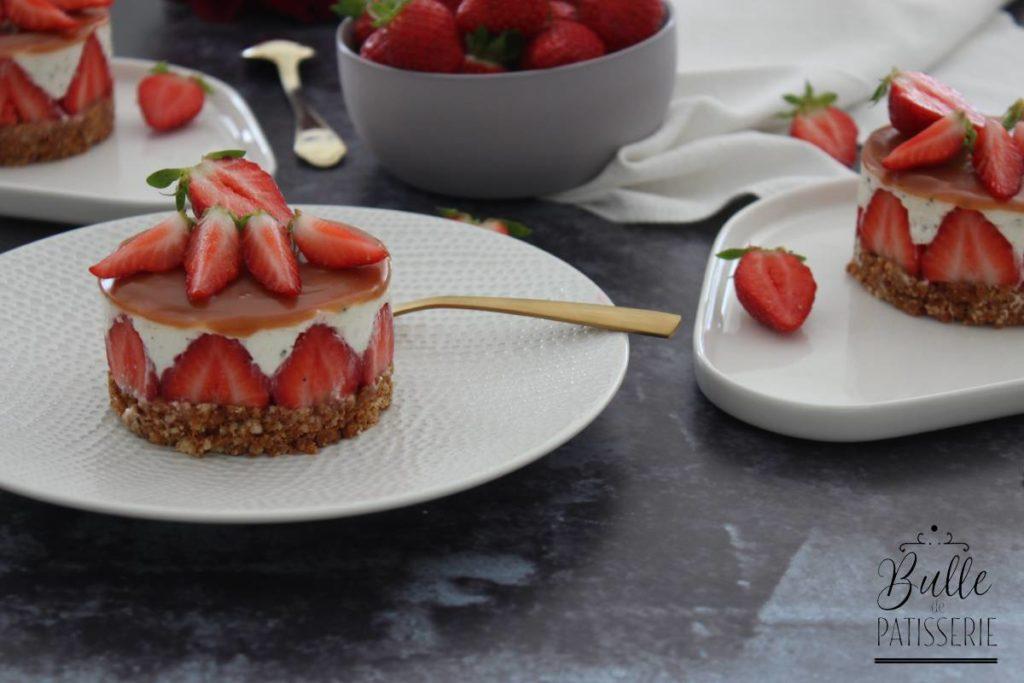 Dessert sans cuisson au four : cheesecake fraise-caramel