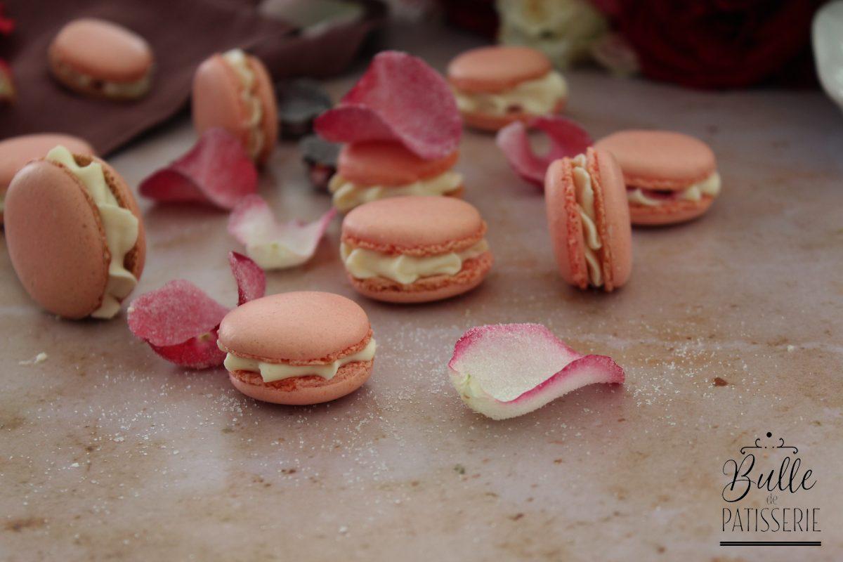 Recette de macarons à la rose et à la framboise