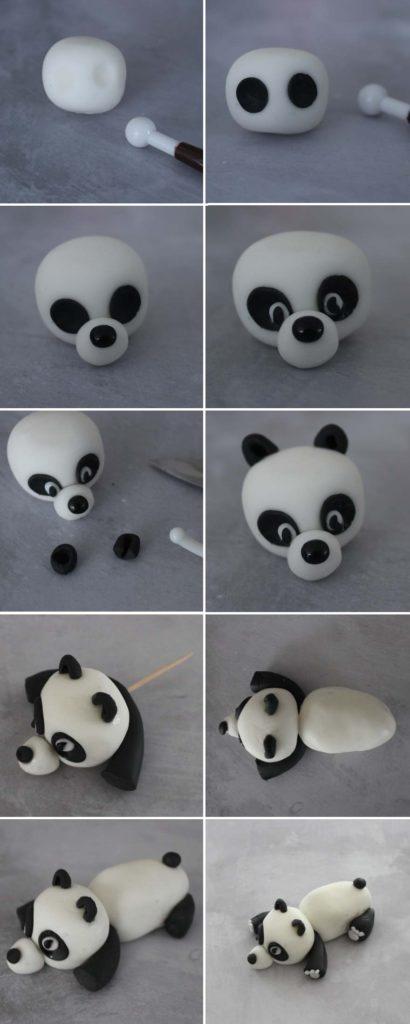 Tuto panda étalé en pâte à sucre