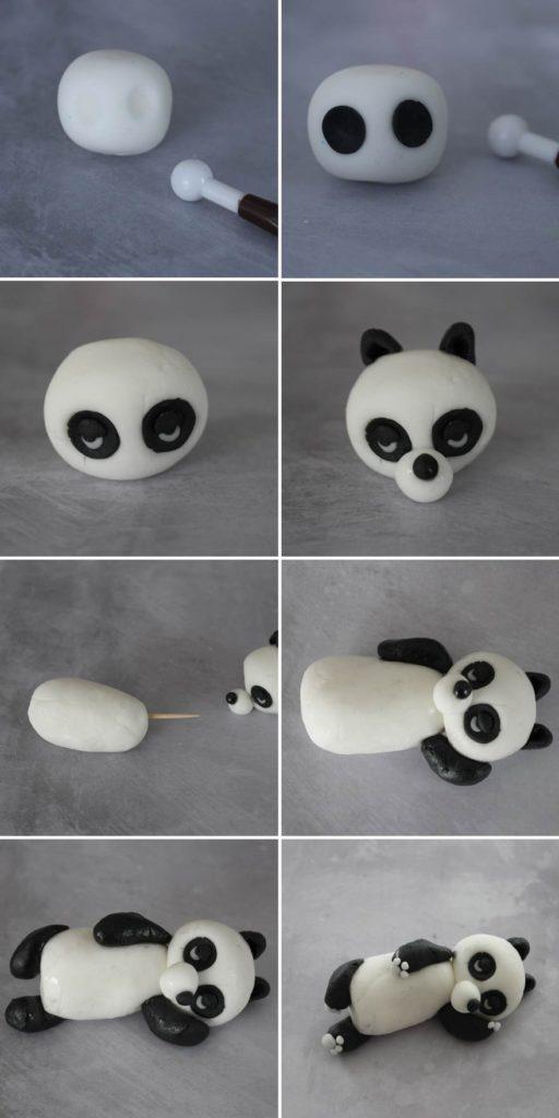 Tuto : panda allongé en pâte à sucre